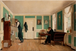 05 Wilhelm Bendz - Interior from Amaliegade. Captain Carl Ludvig Bendz standing and Dr. Jacob Christian Bendz seated (1829).jpg